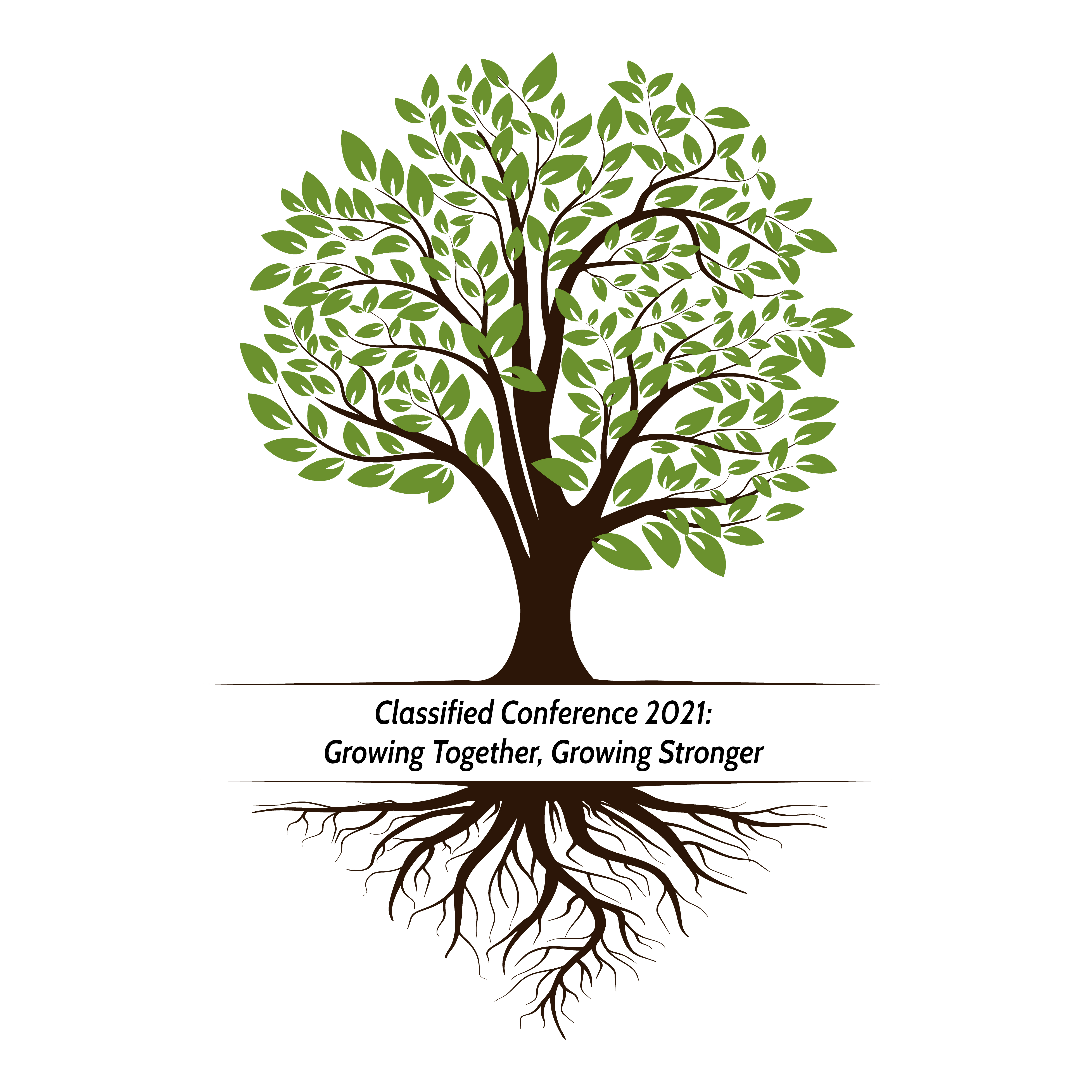 """Vector-drawn tree with the wording """"Classified Convention 2021: Growing Together, Growing Stronger""""."""